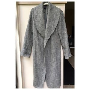 Black BCBG Mohair Long Trench Coat